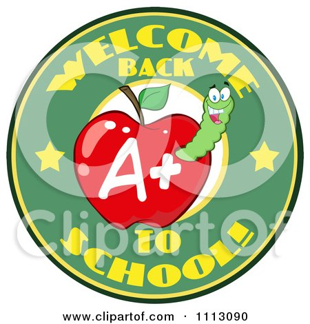 Clipart Welcome Back To School Circle With A Worm In A Red Apple 2 - Royalty Free Vector Illustration by Hit Toon