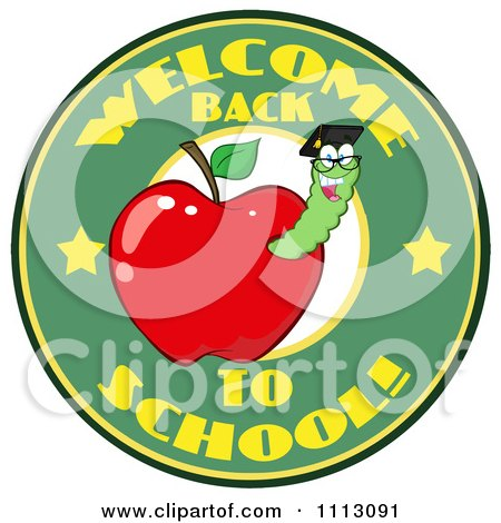 Clipart Welcome Back To School Circle With A Worm In A Red Apple 3 - Royalty Free Vector Illustration by Hit Toon