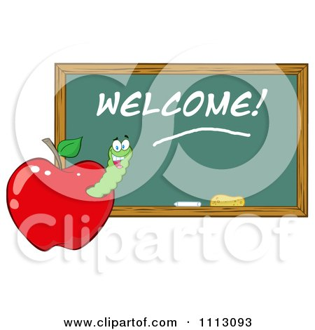 Clipart Happy Worm In A Red Apple With A Welcome Chalk Board- Royalty Free Vector Illustration by Hit Toon