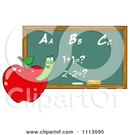 Clipart Happy Worm In A Red Apple With A Math Chalk Board- Royalty Free Vector Illustration by Hit Toon