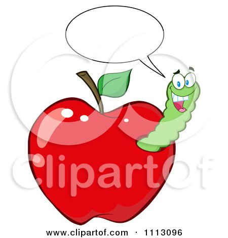 Clipart Happy Talking Worm In A Red Apple - Royalty Free Vector Illustration by Hit Toon