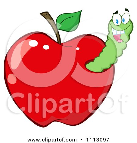 Clipart Happy Worm In A Red Apple - Royalty Free Vector Illustration by Hit Toon