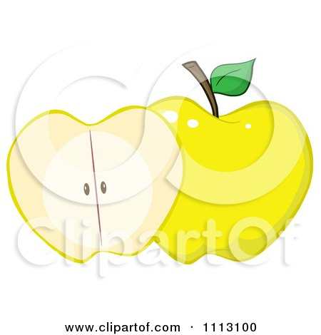 Clipart Halved Yellow Apple - Royalty Free Vector Illustration by Hit Toon