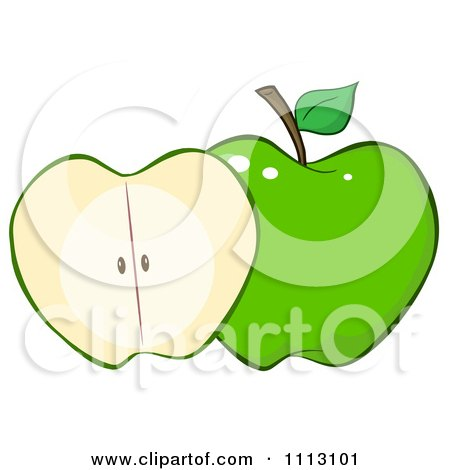 Clipart Halved Green Apple - Royalty Free Vector Illustration by Hit Toon
