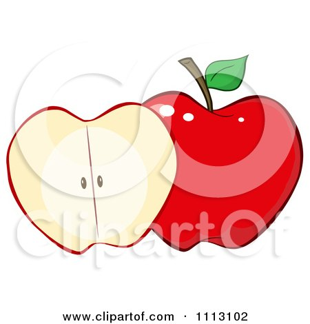 Clipart Halved Red Apple - Royalty Free Vector Illustration by Hit Toon