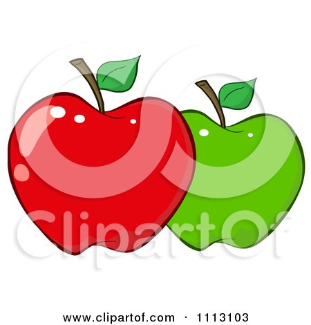 Clipart Red And Green Apple - Royalty Free Vector Illustration by Hit Toon