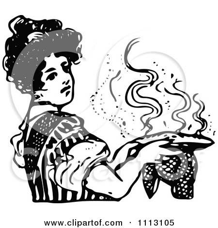 Clipart Vintage Black And White Woman Holding A Hot Pie - Royalty Free Vector Illustration by Prawny Vintage