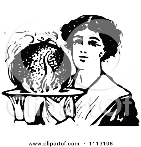 Clipart Vintage Black And White Woman Holding Christmas Plum Pudding - Royalty Free Vector Illustration by Prawny Vintage