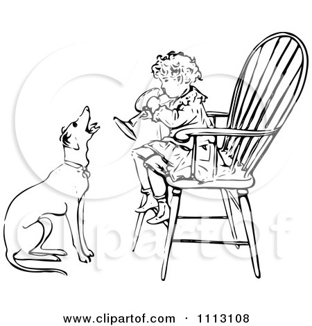 Clipart Vintage Black And White Boy Playing A Horn In A Chair As A Dog Barks Along - Royalty Free Vector Illustration by Prawny Vintage