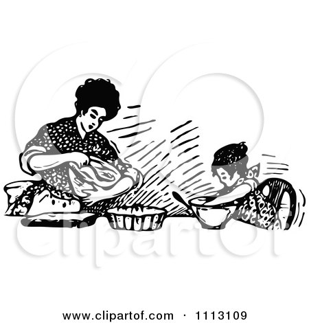 Clipart Vintage Black And White Mother Baking With Her Daughter - Royalty Free Vector Illustration by Prawny Vintage