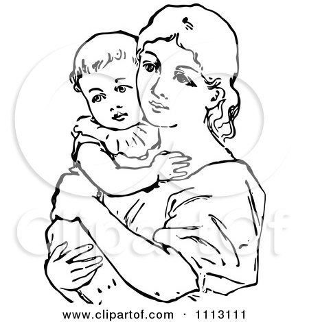 Vintage black and white mother holding her baby posters art prints