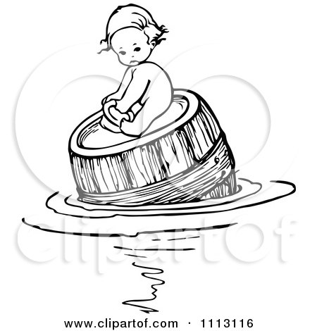 Clipart Vintage Black And White Baby Floating And On A Barrel