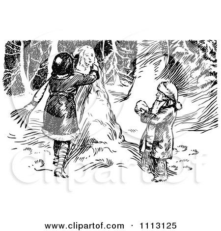 Vintage Black And White Kids Making A Snowman