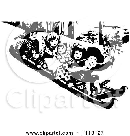 Clipart Vintage Black And White Children Sledding - Royalty Free Vector Illustration by Prawny Vintage