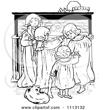 Clipart Vintage Black And White Christmas Children By A Fireplace - Royalty Free Vector Illustration by Prawny Vintage