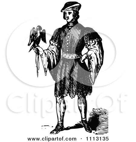Clipart Vintage Black And White Elizabethan Man With A Bird - Royalty Free Vector Illustration by Prawny Vintage