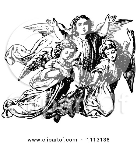 Clipart Vintage Black And White Trio Of Angels - Royalty Free Vector Illustration by Prawny Vintage