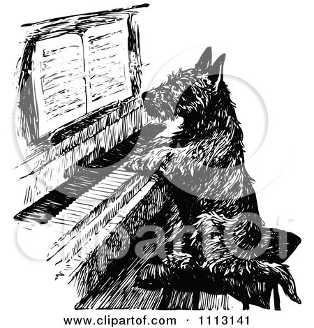Clipart Vintage Black And White Scottish Terrier Playing A Piano - Royalty Free Vector Illustration by Prawny Vintage