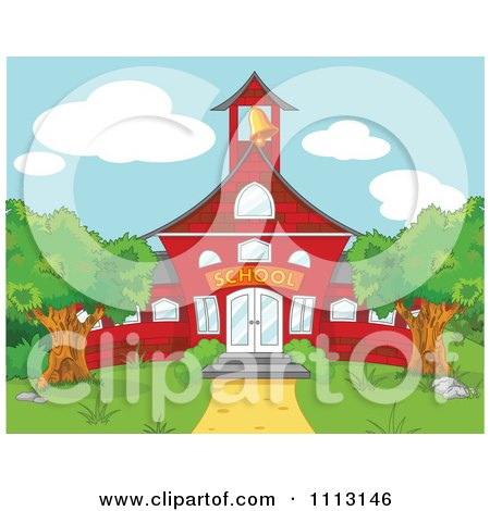 Clipart Red School House With A Ringing Bell - Royalty Free Vector Illustration by Pushkin