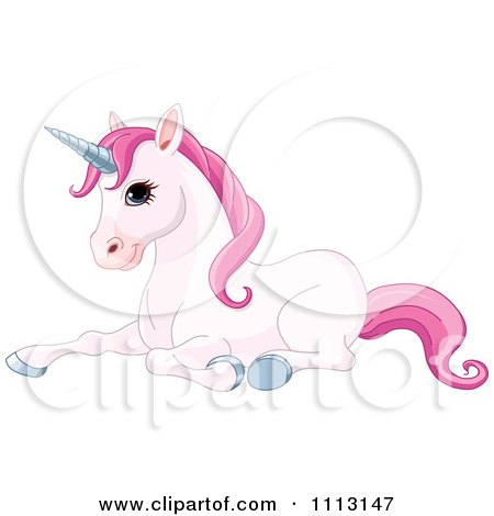 Clipart Cute Pink Unicorn Resting - Royalty Free Vector Illustration by Pushkin