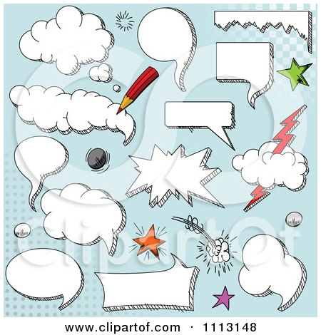 Clipart Cloud Comic Design Elements Over Blue - Royalty Free Vector Illustration by Pushkin