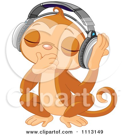 Clipart Cute DJ Monkey Closing His Eyes And Listening To Music Through Headphones - Royalty Free Vector Illustration by Pushkin