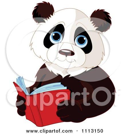Clipart Cute Panda Reading A Book - Royalty Free Vector Illustration by Pushkin