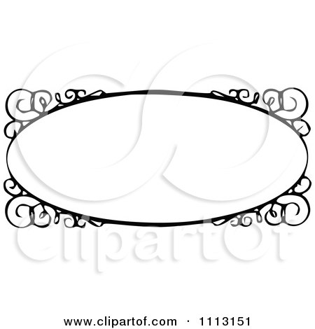 Clipart Black And White Ornate Vintage Frame With Swirls - Royalty Free Vector Illustration by Prawny Vintage
