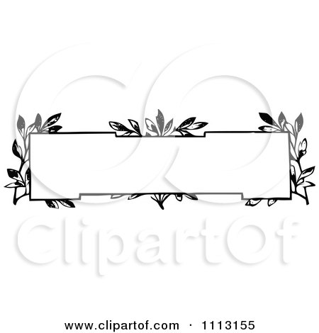 Clipart Black And White Vintage Frame With Vines - Royalty Free Vector Illustration by Prawny Vintage