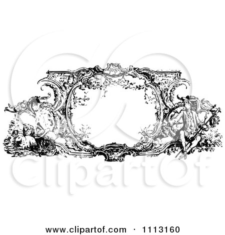 Clipart Black And White Ornate Vintage Frame With French Scenes - Royalty Free Vector Illustration by Prawny Vintage