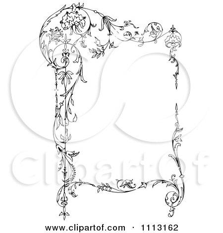 Clipart Black And White Ornate Vintage Floral Frame - Royalty Free Vector Illustration by Prawny Vintage