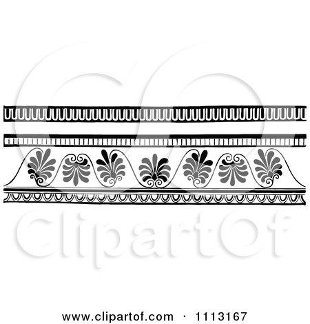 Clipart Vintage Black And White Decorative Art Deco Border Design Elements - Royalty Free Vector Illustration by Prawny Vintage