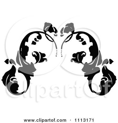 Clipart Vintage Black And White Fleur Floral Design Element 1 - Royalty Free Vector Illustration by Prawny Vintage