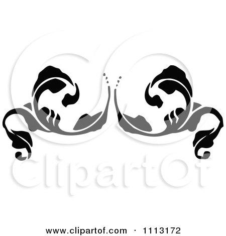 Clipart Vintage Black And White Fleur Floral Design Element 2 - Royalty Free Vector Illustration by Prawny Vintage