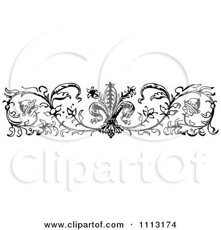 Clipart Vintage Black And White Ornamental Fleur Border Design Element - Royalty Free Vector Illustration by Prawny Vintage