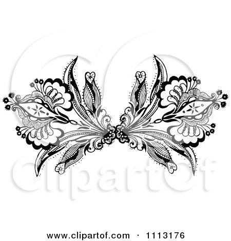 Clipart Vintage Black And White Ornamental Double Fleur Border Design Element - Royalty Free Vector Illustration by Prawny Vintage