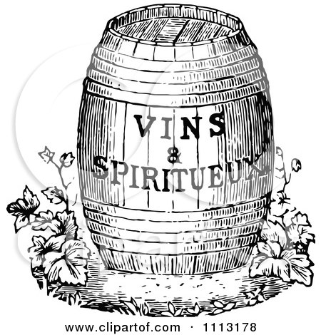 Clipart Vintage Black And White Wine Barrel With Text - Royalty Free Vector Illustration by Prawny Vintage