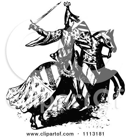 Clipart Vintage Black And White Medieval Knight On Horseback 1 - Royalty Free Vector Illustration by Prawny Vintage