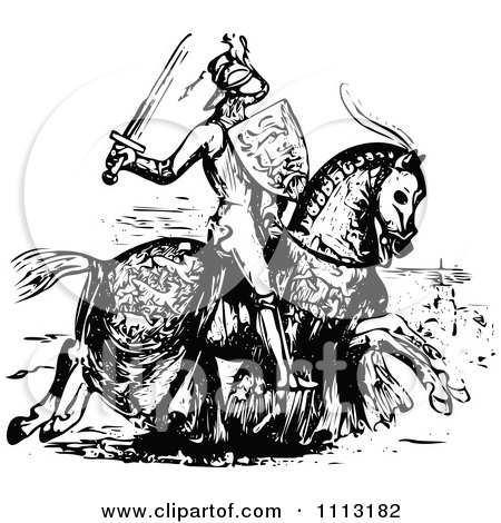 Clipart Vintage Black And White Medieval Knight On Horseback 2 - Royalty Free Vector Illustration by Prawny Vintage