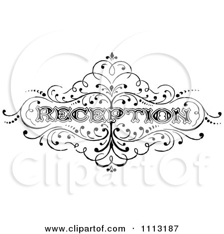Clipart Vintage Black And White Reception Text - Royalty Free Vector Illustration by Prawny Vintage