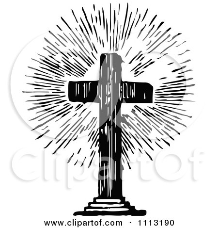 Clipart Vintage Black And White Shining Cross - Royalty Free Vector Illustration by Prawny Vintage