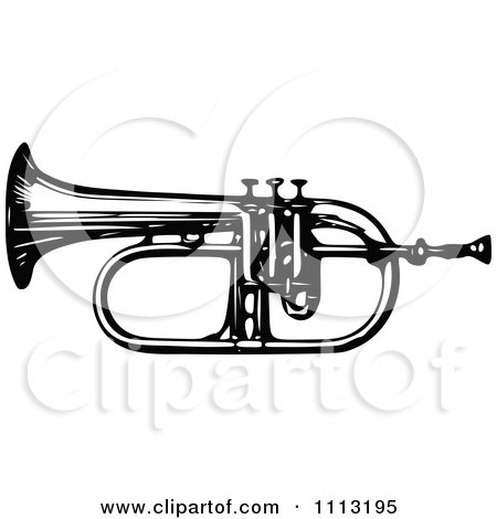 Clipart Vintage Black And White Bugle Horn - Royalty Free Vector Illustration by Prawny Vintage
