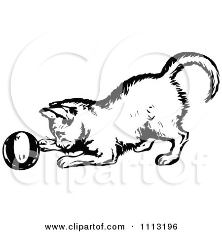 Clipart Vintage Black And White Kitten Playing With A Ball - Royalty Free Vector Illustration by Prawny Vintage