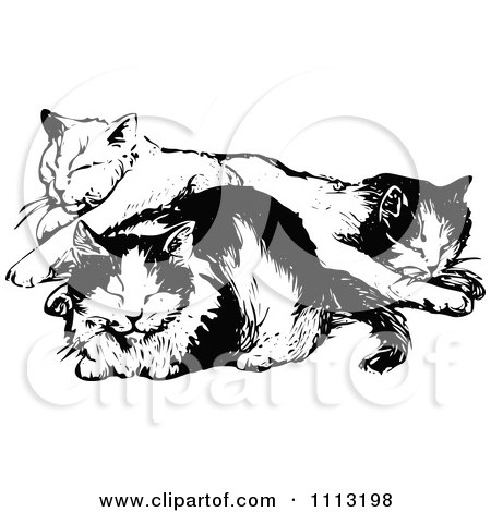 Clipart Vintage Black And White Cats Napping - Royalty Free Vector Illustration by Prawny Vintage