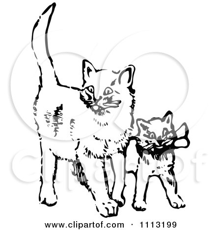 Clipart Vintage Black And White Cat And Kitten - Royalty Free Vector Illustration by Prawny Vintage