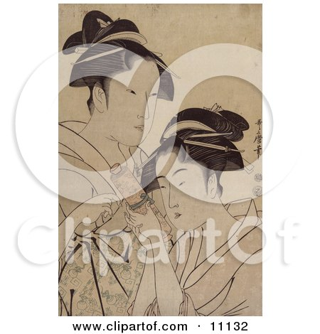 Two Asian Women With a Scroll Clipart Picture by JVPD