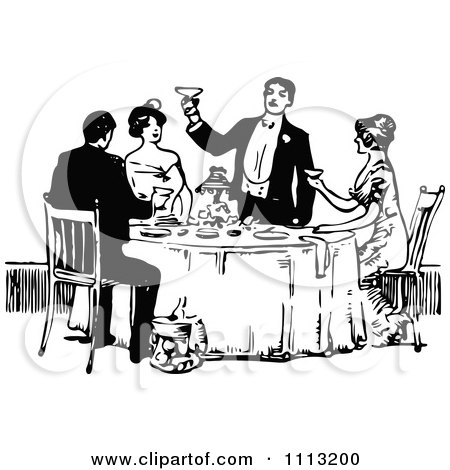 Clipart Vintage Black And White Man Toasting At A Table - Royalty Free Vector Illustration by Prawny Vintage