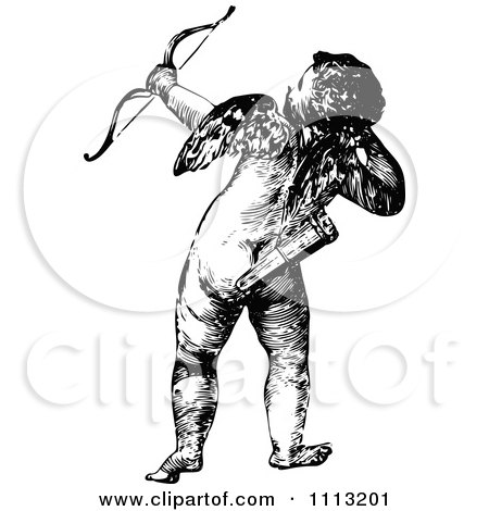 Clipart Vintage Black And White Cupid Shooting An Arrow - Royalty Free Vector Illustration by Prawny Vintage