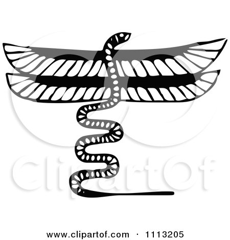 Clipart Vintage Black And White Serpent Dragon - Royalty Free Vector Illustration by Prawny Vintage