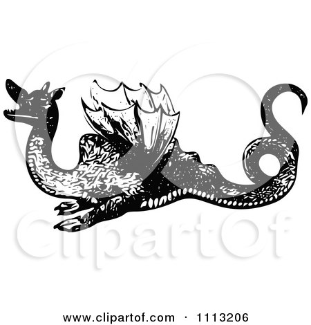 Clipart Vintage Black And White Dragon 1 - Royalty Free Vector Illustration by Prawny Vintage
